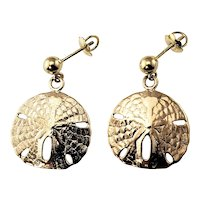 Vintage 14 Karat Yellow Gold Sand Dollar Earrings