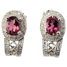 Vintage 14 Karat White Gold and Synthetic Rubelite and Diamond Earrings