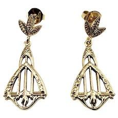 Vintage 14 Karat Yellow Gold Dangle Earrings