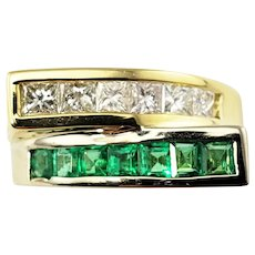 Vintage 18 Karat Yellow Gold Emerald and Diamond Ring GAI Certified Size 6.75