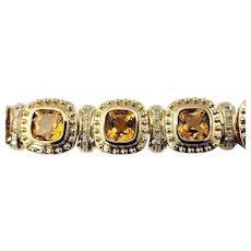 Vintage 14 Karat Yellow Gold Citrine and Diamond Bracelet GAI Certified
