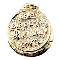 Vintage 14 Karat Yellow Gold Mechanical Birthday Cake Charm
