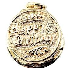 Vintage 14 Karat Yellow Gold Mechanical Birthday Cake Charm