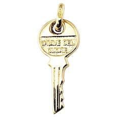 Vintage 18 Karat Yellow Gold Key Charm