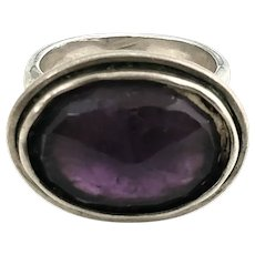 Bili Sterling Silver Checkerboard Faceted Amethyst Ring, Size 7