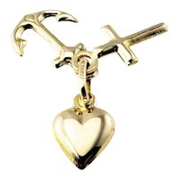 Vintage 14 Karat Yellow Gold Faith, Hope and Charity Charm