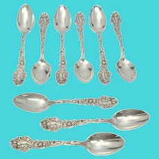 Set of 9 Gorham Sterling Silver Versailles Small Teaspoons with Monogram