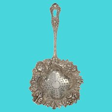 George W. Shiebler Sterling Silver American Beauty 61 Over the Cup Tea Strainer