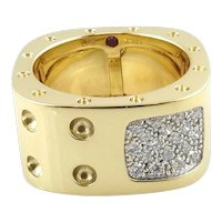 Roberto Coin 18K Yellow Gold Pois Moi Pave Diamond Square Double Row Band Ring Size 6.5