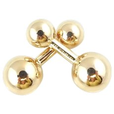 Vintage Tiffany & Co. 14K Yellow Gold Barbell Cufflinks