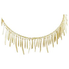 "Roberto Coin 18K Yellow Gold Elephant Skin Tassel Fringe Necklace 17"""