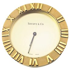 Vintage Tiffany & Co. Atlas Solid Brass Gold Tone Travel Alarm Clock