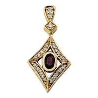 Vintage 14 Karat Yellow Gold Ruby and Diamond Pendant