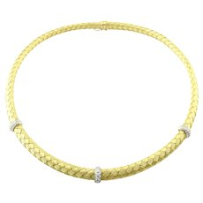 "Roberto Coin 18K Yellow Woven Silk 3 Station Diamond Necklace Choker 16"""