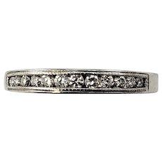 Vintage 14 Karat White Gold Diamond Wedding Band Ring Size 7.75