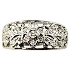 Vintage 18 Karat White Gold and Diamond Band Ring Size 5.75