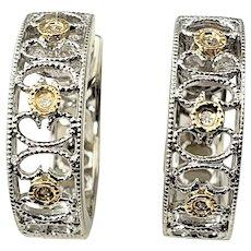 Vintage 14 Karat White Gold and Diamond Hoop Earrings