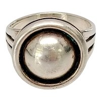 Artie Yellowhorse Native American Sterling Silver Round Dome Ring Size 8