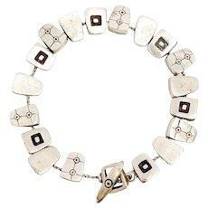 Lisa Jenks Sterling Silver Modernist Geometrical Slide Bracelet