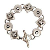 Lisa Jenks Sterling Silver Modernist XO Geometric Link Bracelet