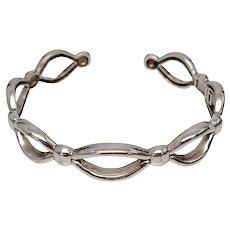 Ariva Sterling Silver Lattice Hinged Cuff Bracelet