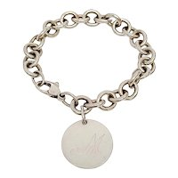 Tiffany & Co Sterling Silver Round Tag Initial M Charm Bracelet