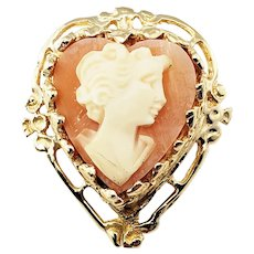 Vintage 14 Karat Yellow Gold Heart Cameo Brooch/Pendant