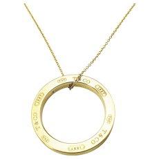 Vintage Tiffany & Co. 18 Karat Yellow Gold 1837 Circle Pendant Necklace