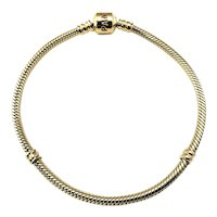 Vintage Pandora 14 Karat Yellow Gold Charm Bracelet