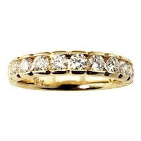 Vintage 14 Karat Yellow Gold and Diamond Wedding Band Ring Size 7.5