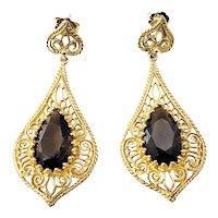Vintage 14 Karat Yellow Gold Filigree and Smokey Quartz Dangle Earrings GAI Certified