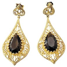 Vintage 14 Karat Yellow Gold Filigree and Smokey Quartz Dangle Earrings GAI Certified