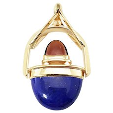 Vintage 14 Karat Yellow Gold Lapis Lazuli and Carnelian Pendant GAI Certified