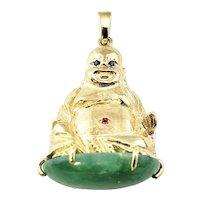 Vintage 10 Karat Yellow Gold Buddha and Jadeite Pendant GAI Certified