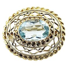 Vintage 14 Karat Yellow Gold Filigree and Aquamarine Brooch/Pin GAI Certified