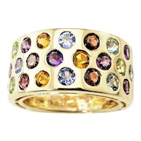 Vintage 14 Karat Yellow Gold and Multicolored Stones Band Ring Size 6.75