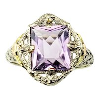 Vintage 10 Karat White, Rose and Yellow Gold Amethyst Ring Size 4.25 GAI Certified