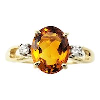 Vintage 14 Karat Yellow Gold Citrine and Diamond Ring Size 6.25 GAI Certified