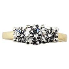 Vintage 14 Karat Yellow Gold and Platinum Diamond Ring Size 5