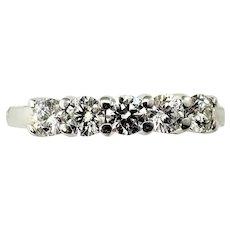 Vintage 18 Karat White Gold and Diamond Wedding/Anniversary Band Ring Size 8.5