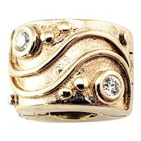 Vintage Pandora 14 Karat Yellow Gold and Diamond Clip Charm