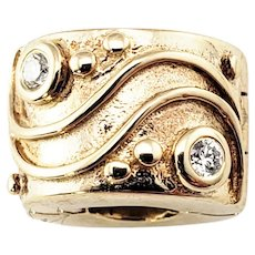 Vintage Pandora 14 Karat Yellow Gold and Diamond Clip Charm