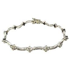 Vintage 18 Karat White Gold Diamond Flower Bracelet
