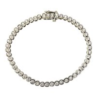 Vintage 14 Karat White Gold Diamond Tennis Bracelet