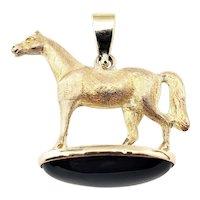 Vintage 14 Karat Yellow Gold and Onyx Horse Pendant