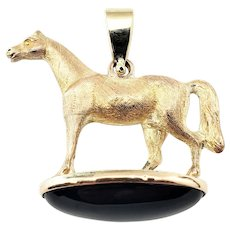 Vintage 14 Karat Yellow Gold and Onyx Horse Pendant