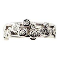 Vintage 14 Karat White Gold Diamond Band Ring Size 5.75