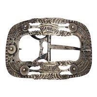 Antique Dutch 833 Silver Belt Buckle by Widow Gerrit Hoogendoorn