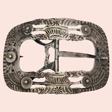 Antique Dutch 833 Silver Belt Buckle by Widow Gerrit Hoogendoorn