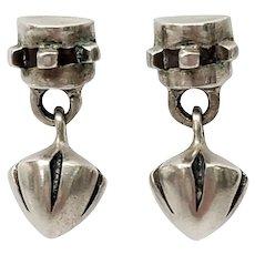 Lisa Jenks Sterling Silver Modernist Dangle Earrings